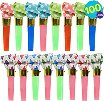 Loot Bag Favours Pack of 8 Multi-Coloured Blowers Prize New Party