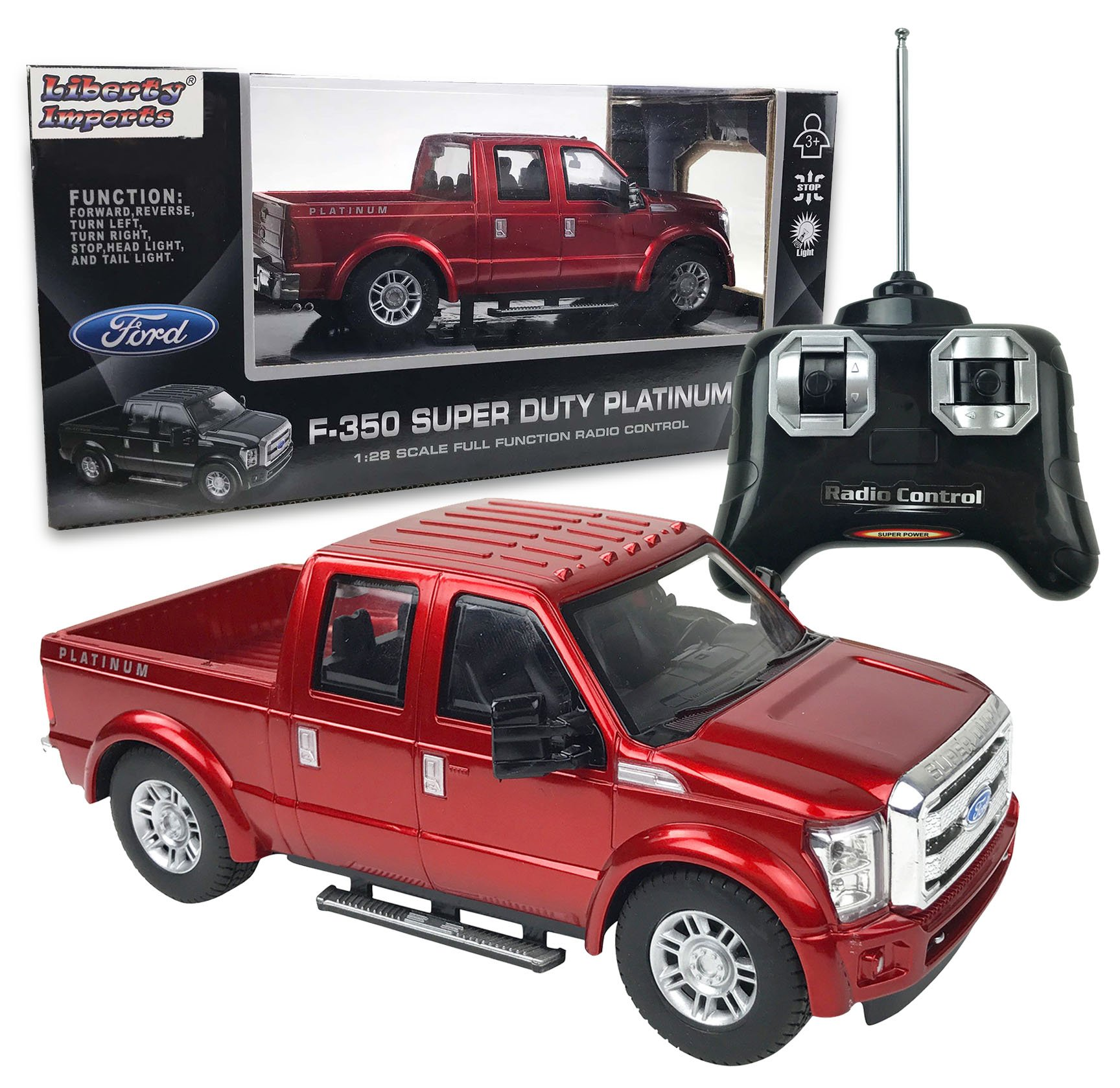 Liberty Imports RC Ford F-350 Super Duty Pick Up Truck, Full Function R/C Radio Remote Control Car 1:28 Scale