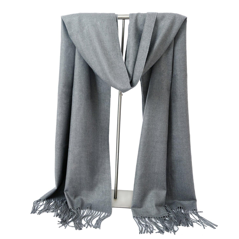 LERDU Ladies Gift Idea Cashmere Scarf Fashion Warm Wool Wrap Shawl Winter Stole for Women Grey