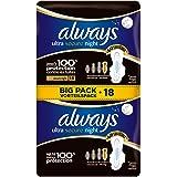 Always - Ultra Secure Night - Serviettes Hygiéniques avec Ailettes 18x - Lot de 2
