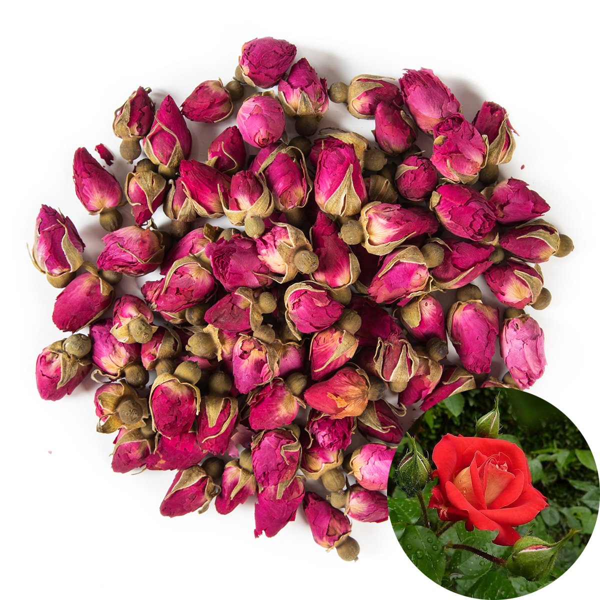 TooGet Fragrant Natural Red Rose Buds Rose Petals Organic Dried Flowers Wholesale, Culinary Food Grade - 4 OZ by TooGet