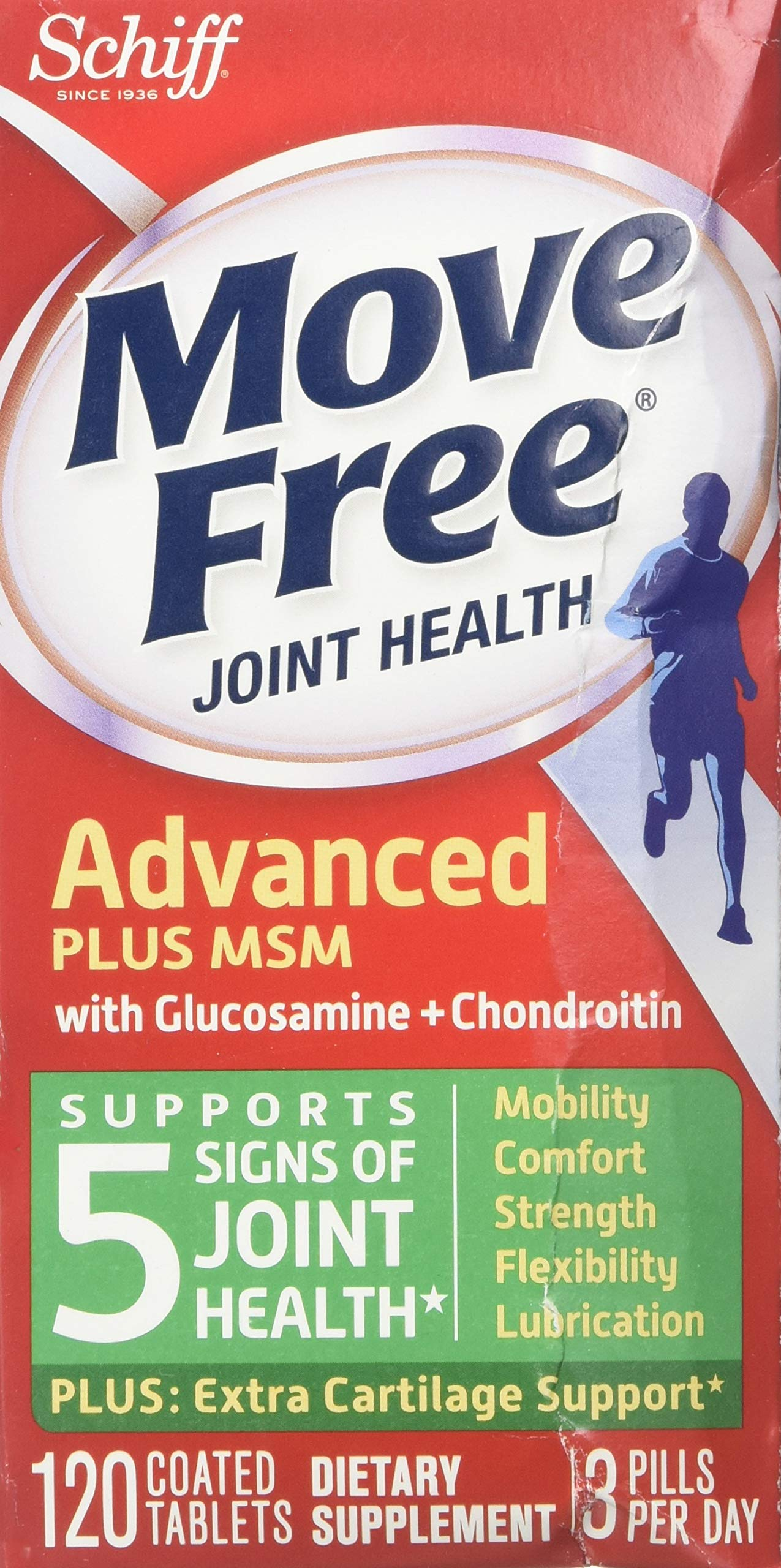 Move Free Advanced Plus MSM, 120 Tablets - Joint Health Supplement with Glucosamine and Chondroitin (Pack of 2)