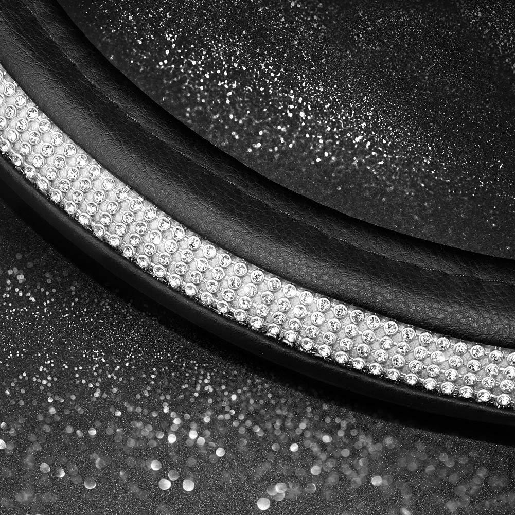 SEG Direct Couvre Volant Diamant Noir Cuir Microfibre avec Strass Argent Taille 36-36,7 CM pour Civic Prius Camaro Corvettes Audi Smart Mini Volvo
