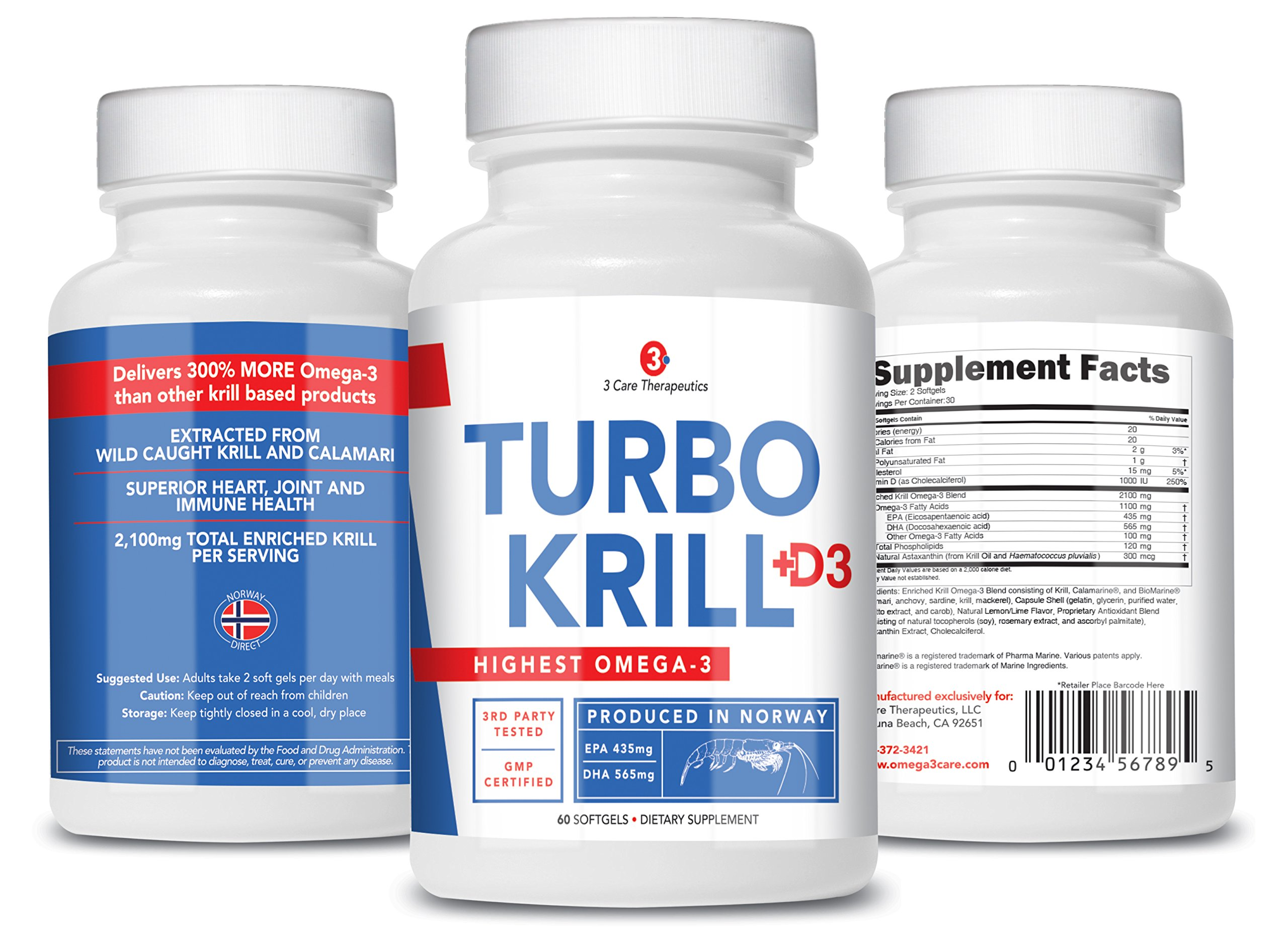 3Care Turbo Krill 2100mg [High Concentrate] Krill Oil plus 1000 IU Vitamin D Omega 3 Supplement 60 count Softgels 3 Pack
