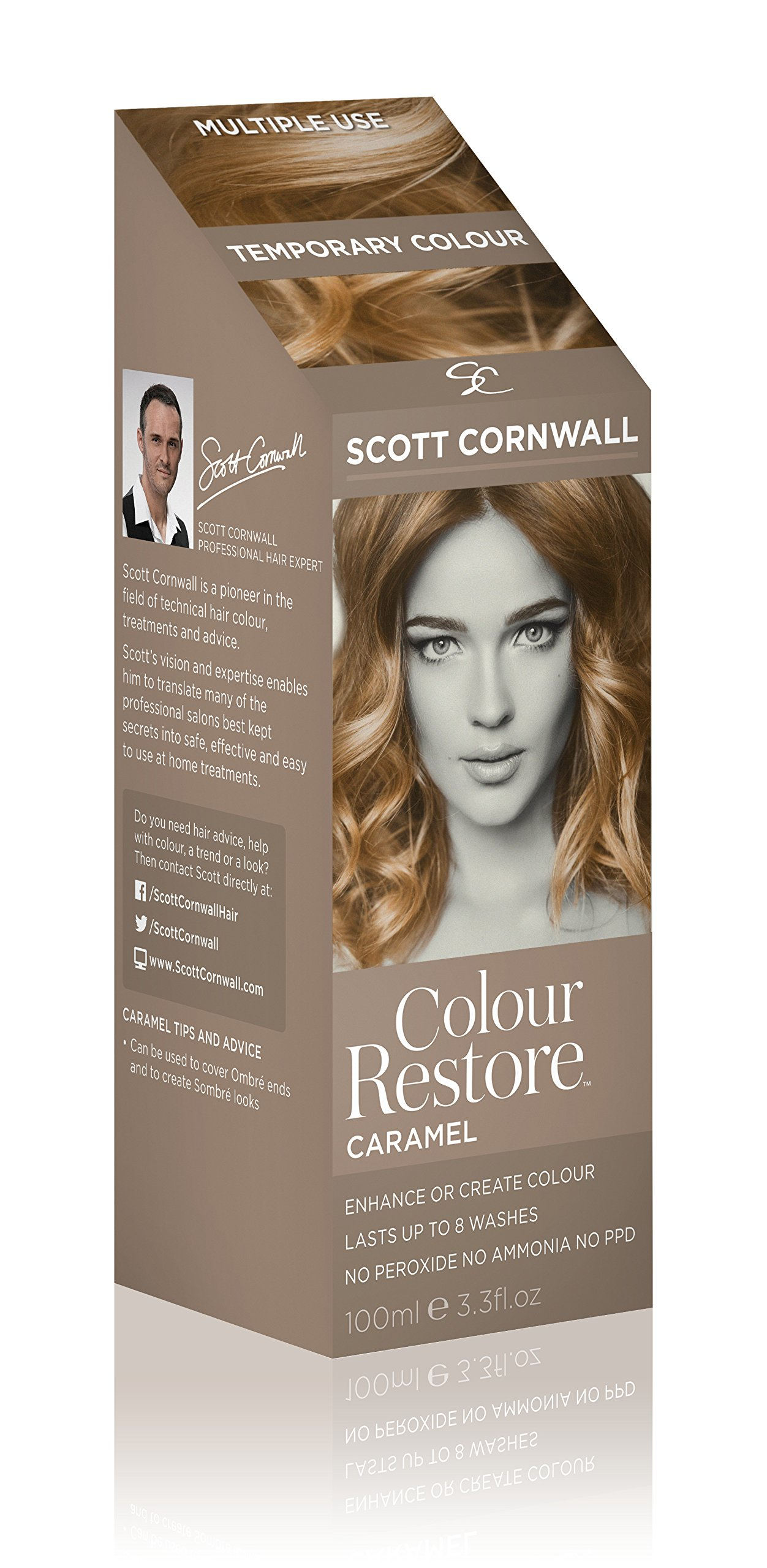 Scott Cornwall Colour Restore Caramel Temporary Toner Dye - Create Warm Light Brown Sombre Tones - PPD Peroxide Free Vegan Friendly Deep Conditioner Grey Cover Touch-Up for Blonde or Brunette Bases