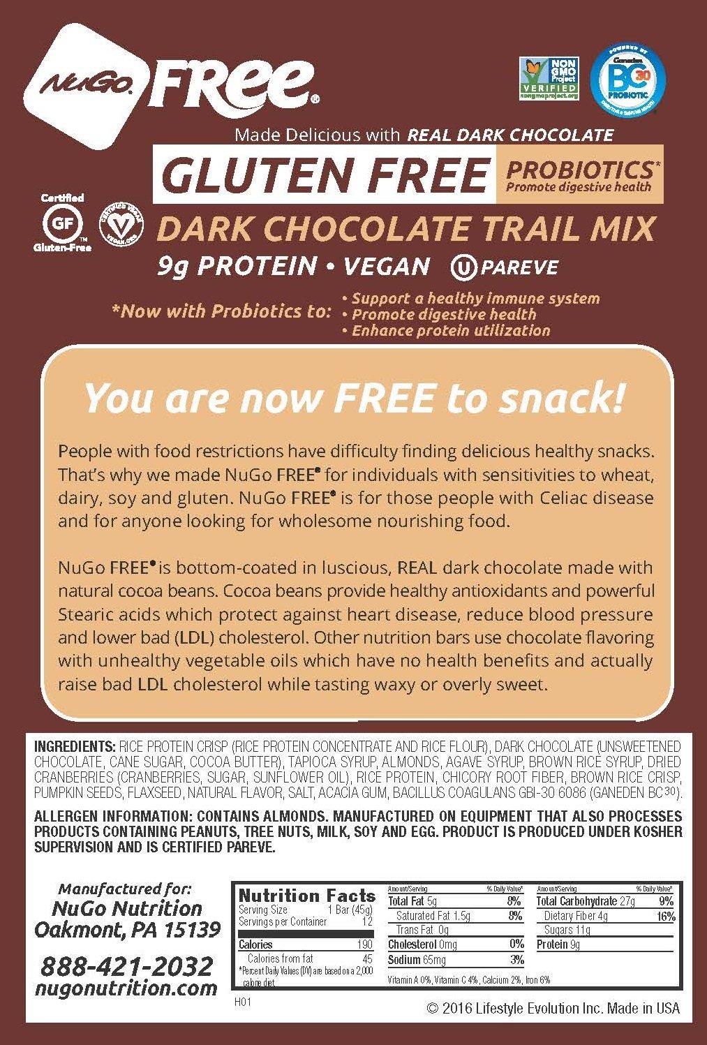 Amazon.com: NuGo FREE Bar, Gluten Free Dark Chocolate Trail Mix ...