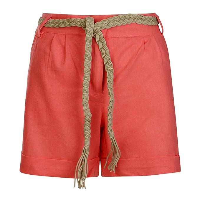 a1b9e4482b48 Damen Leinenshorts Damen mit Gürtel Aufrollen Hose Freizeit Sommer Mode  Koralle, UK 14 EU 40  Amazon.de  Bekleidung