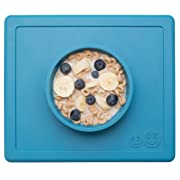 ezpz Happy Bowl - One-Piece Silicone placemat + Bowl (Blue)