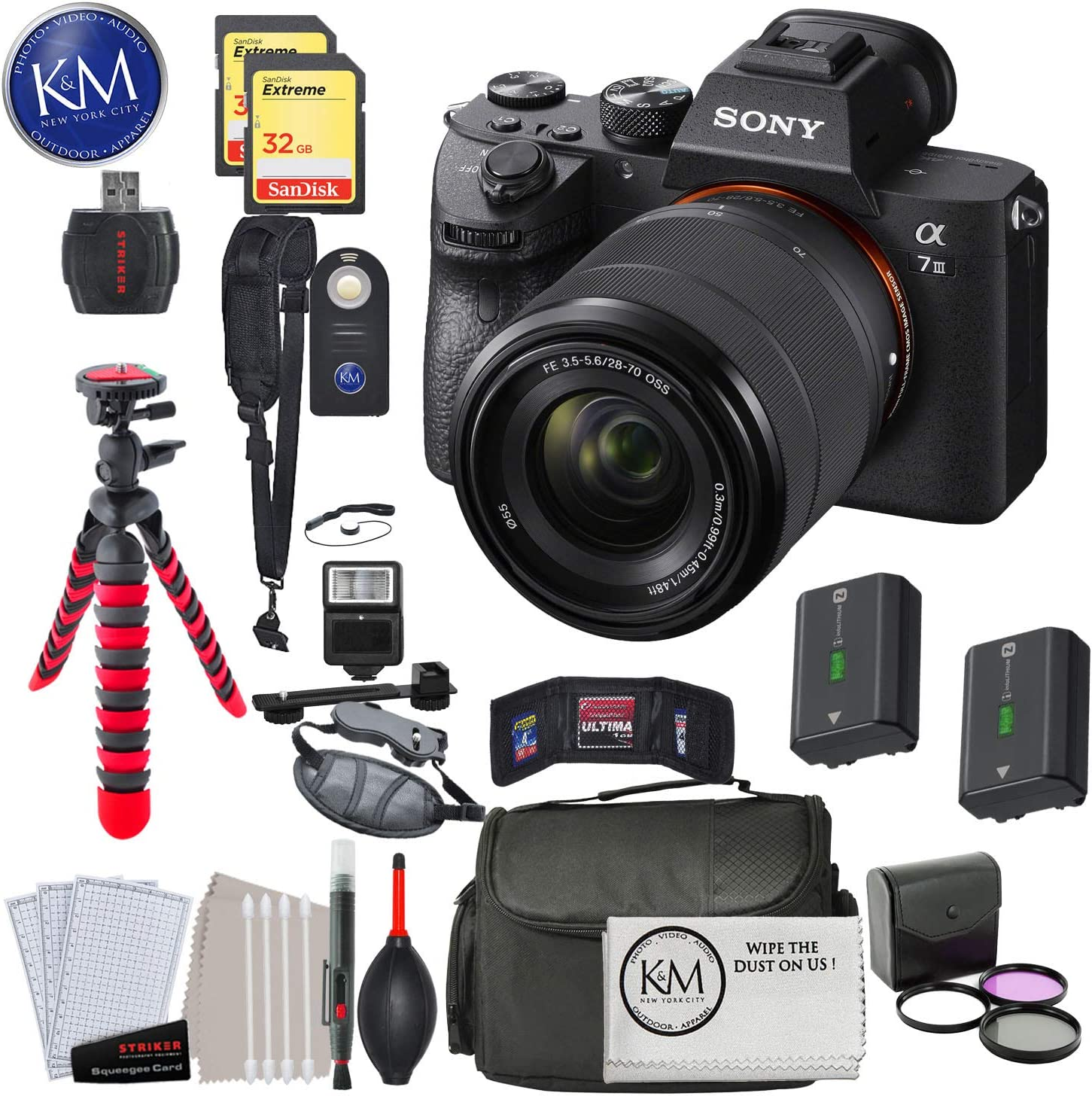 Sony Alpha a7 III Mirrorless Digital Camera Body w//Audio Technica Microphone /& Tripod Deluxe Bundle