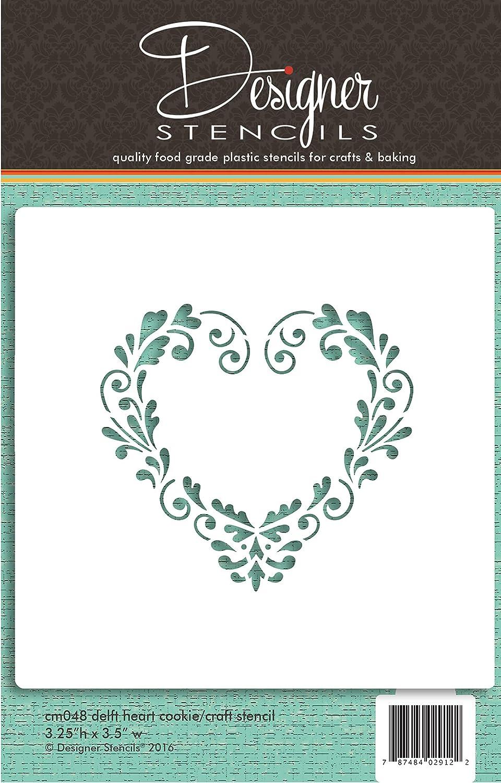Delft Heart Cookie and Craft Stencil by Designer Stencils