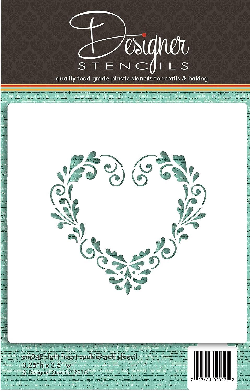 Delft Heart Cookie and Craft Stencil CM048 by Designer Stencils