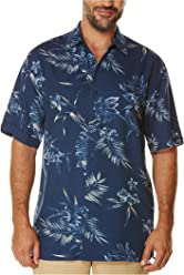 9d1b62fe Cubavera Men's Short Sleeve 100% Rayon Point-Collar Tropical Floral Print  Shirt