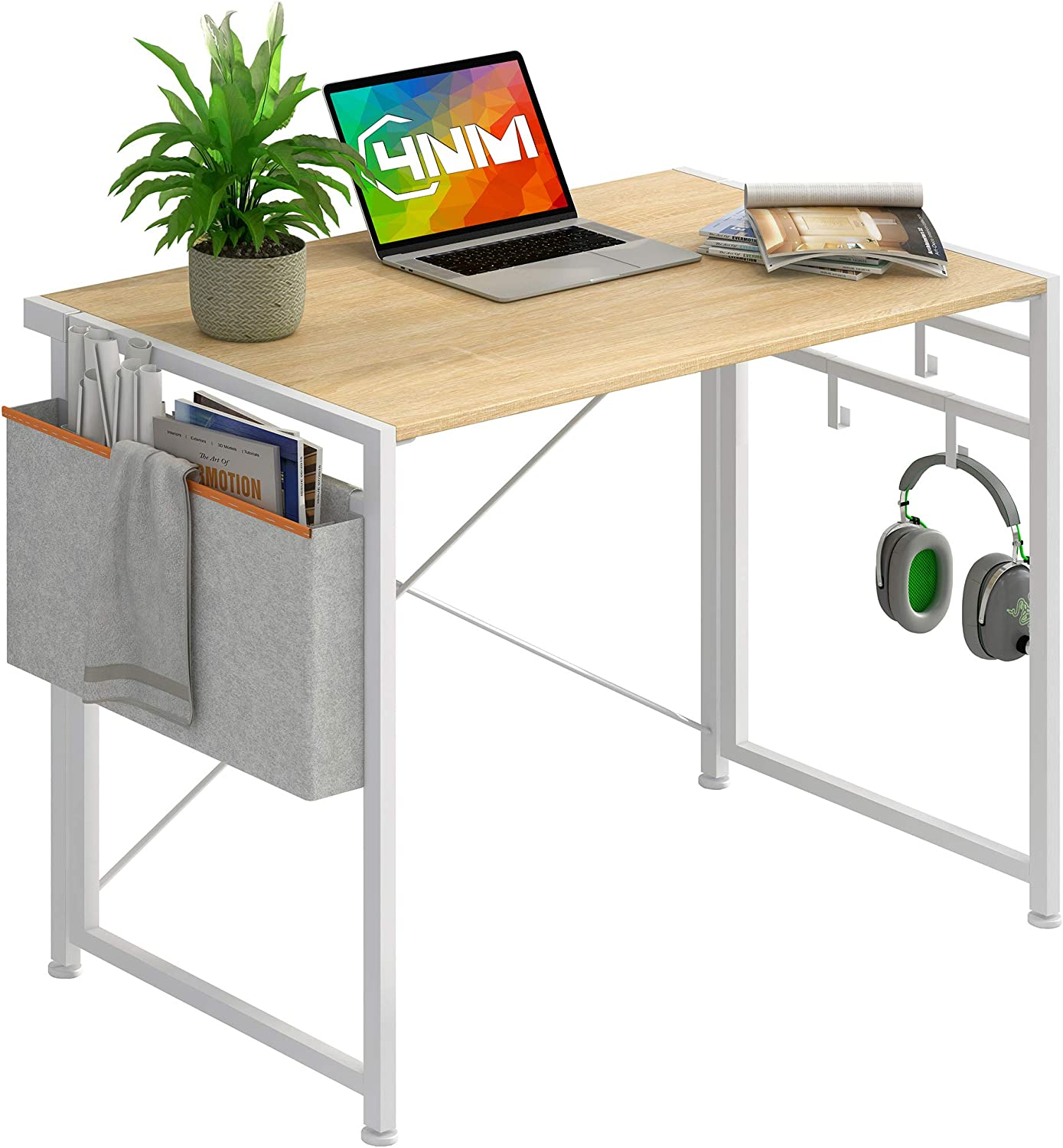 4NM No-Assembly Folding Desk with Storage Bag and 4-Hook Small Computer Desk Laptop Table Compact Home Office Desk Study Reading Table for Space Saving Office Table (White with Storage Bag)