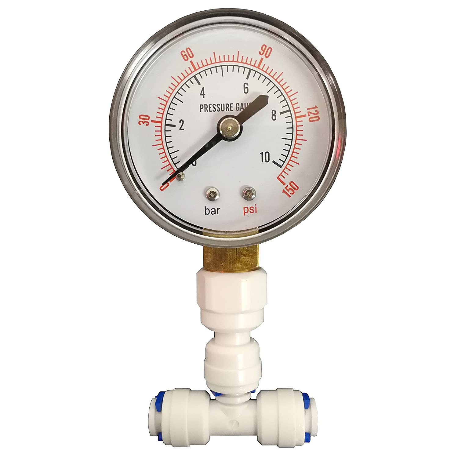Pressure Gauge for Aquatic RO & Domestic Reverse Osmosis Systems with 1/4' Connection by Finerfilters
