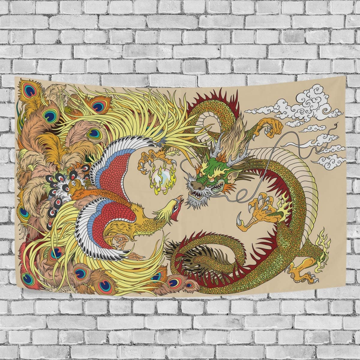 ALAZA Chinese Dragon and Phoenix Playing with Pearl Ball Art Tapestry Wall Hanging for Living Room Dorm Bedroom Home Decor