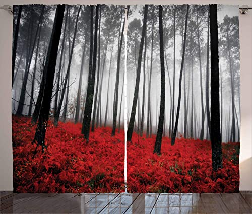 Forest Curtains, Mystical Fantasy Woodland Under Heavy Fog Tall Trees Bushes Contrast Colors, Living Room Bedroom Window Drapes 2 Panel Set, 108 W X 84 L Inches, Red Gray