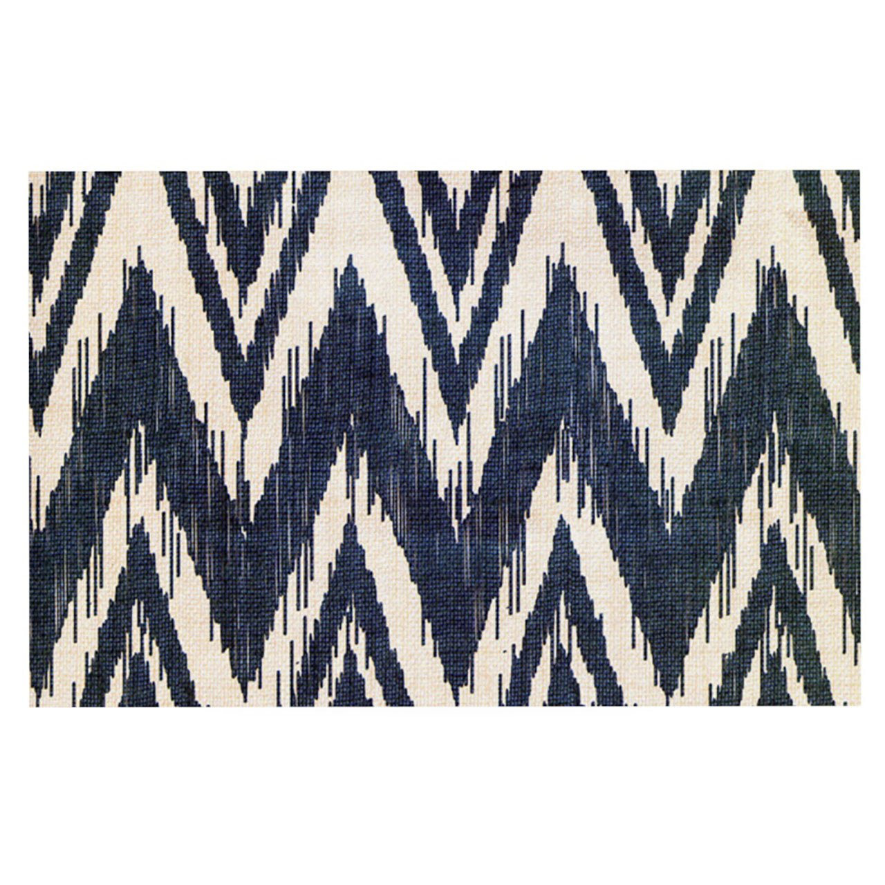 Kess InHouse  Heidi Jennings ''Tribal Chevron Black'' Pet Bowl Placemat for Dog and Cat Feeding Mat, 18-Inch by 13-Inch