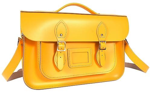 Oxbridge Satchels - Bolso estilo cartera de Piel para mujer Amarillo Double Yellow