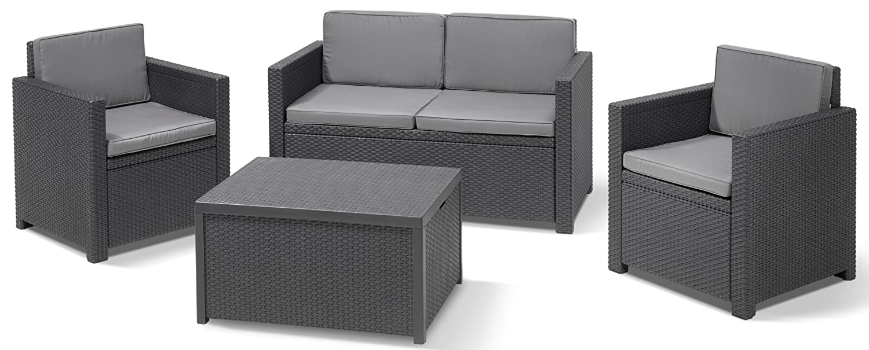 Amazon.de: Allibert 220025 Lounge Set Monaco mit Kissenbox-Tisch ...