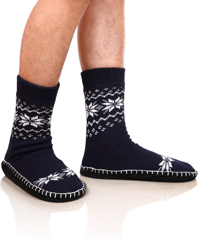 DoSmart Men's Winter Non-Skid Knit Slipper Socks Indoor Floor Stocking Shoes Home Socks