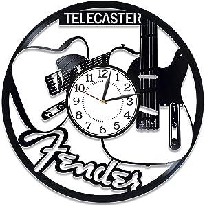 Kovides Music Wall Clock 12 Inch Fender Guitar Birthday Gift Idea Music Original Home Decor Fender Guitar Vinyl Record Wall Clock for Man and Woman Telecaster Handmade Clock