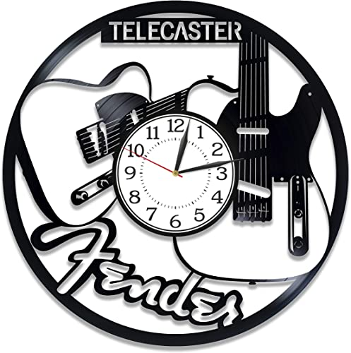 Kovides Music Wall Clock 12 Inch Fender Guitar Birthday Gift Idea Music Original Home Decor Fender Guitar Vinyl Record Wall Clock