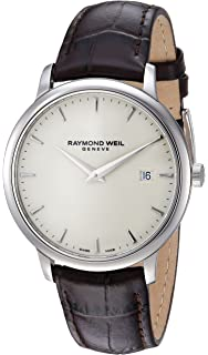 d32df53a4 Raymond Weil Men's Toccata Stainless Steel Quartz Watch with Leather Strap,  Brown, 17 (