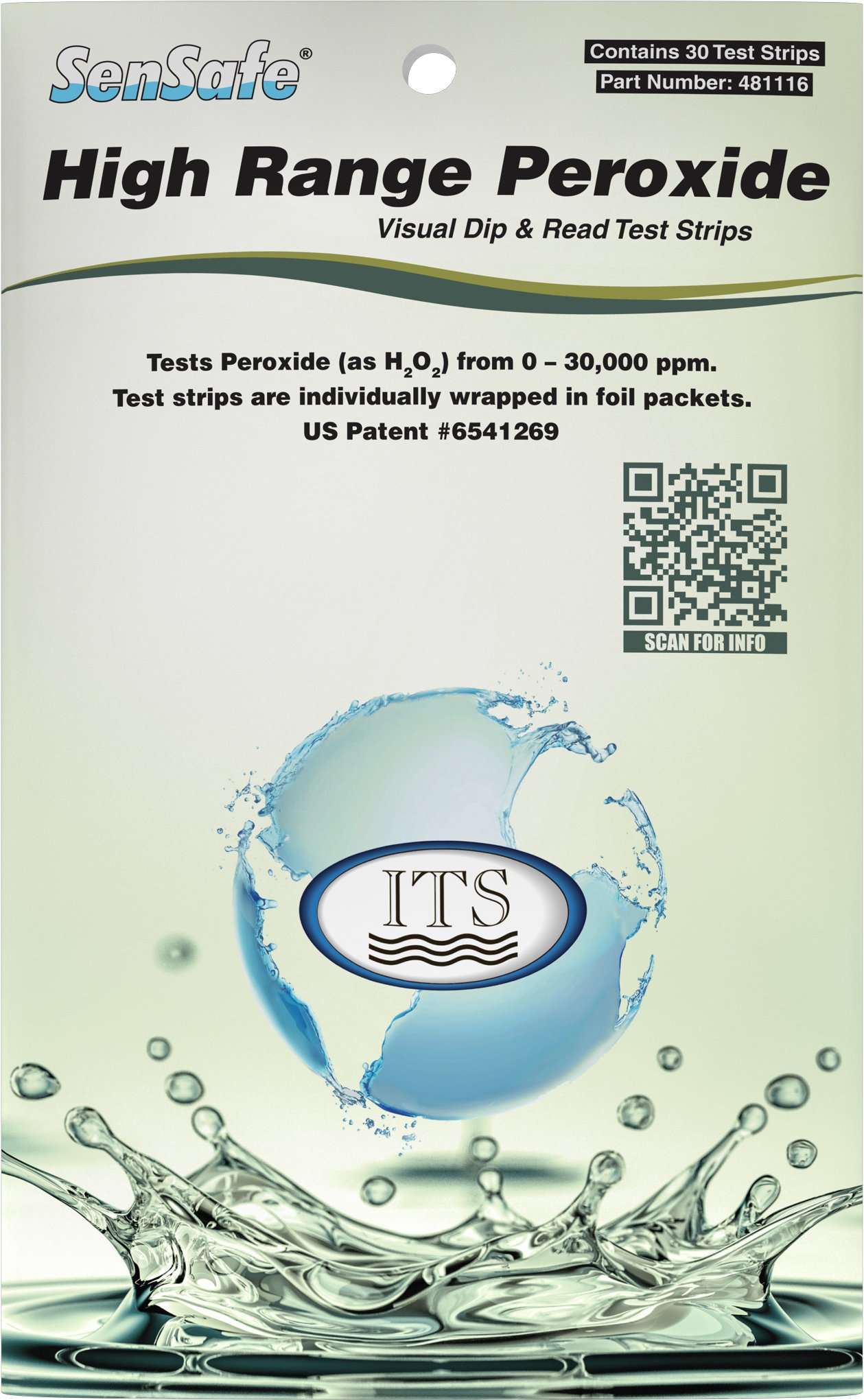 Industrial Test Systems WaterWorks 481116 Peroxide Test Strip, High Range, 32 Seconds Test Time, 0-30000 ppm Range (Pack of 30) by Industrial Test Systems