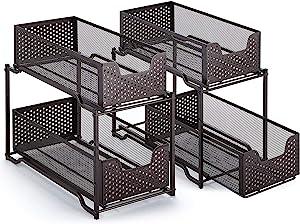 2 Pack - Simple Trending Stackable 2-Tier Under Sink Cabinet Organizer with Sliding Storage Drawer, Bronze