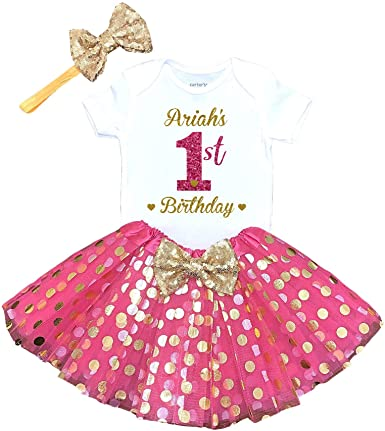 Baby bodysuit Tutu Flower crown Gold crown Personalized Outfit. Baby Girl outfit 1st Birthday Outfit Pink Tutu