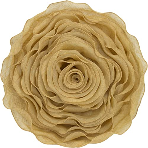 Fennco Styles Beautiful Handmade 3D Rose with Custom Made Fabric Decorative Throw Pillow 16 Round Gold, Case Insert