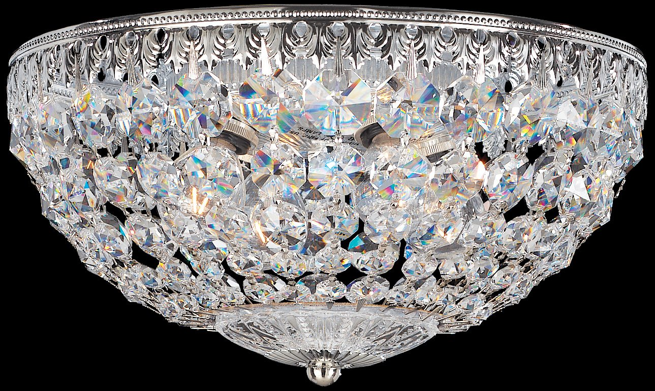crystal flush mount chandelier. Schonbek 1560-40A Swarovski Lighting Petit Crystal Flush Mount Fixture, Silver - Close To Ceiling Light Fixtures Amazon.com Chandelier