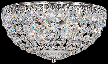 schonbek 156040a swarovski lighting petit crystal flush mount lighting fixture silver - Schonbek Lighting