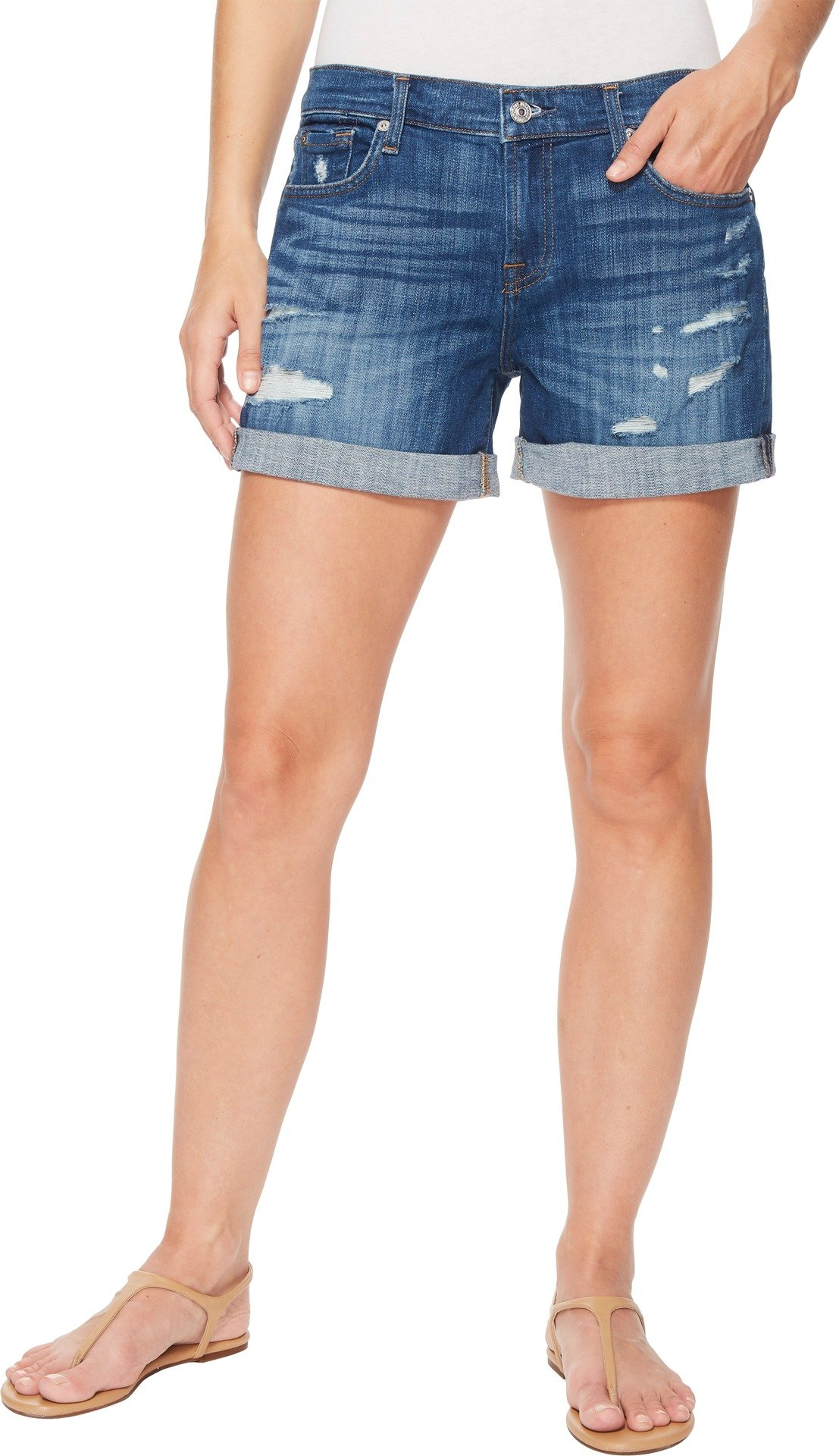 7 For All Mankind Women's Mid Roll Shorts w/Destroy in Broken Twills Desert Trails 3 Broken Twills Desert Trails 3 31 4.5