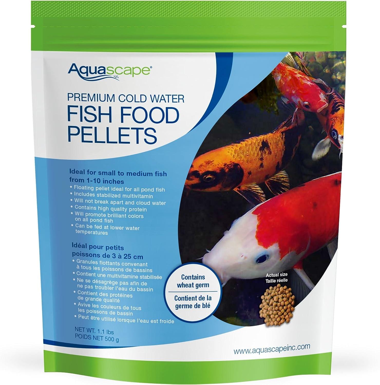 Aquascape 98870 Premium Cold Water Fish Food Pellets for Small to Medium Pond Fish, Medium Pellet, 1.1 Pounds