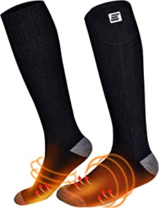 CRRXIN Upgraded Heated Socks,Rechargeable Battery Sock for Cold Feet,Double-Sided Heating,Men Women Thermal Electric Socks for Camping/Skiing/Hunting Winter Foot Warmers