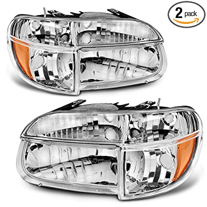 Headlight Assembly For 1995 2001 Ford Explorer Mountaineer Oe Style Replacement Headlamps Chrome Housing With Amber Reflector Clear Lens Corner