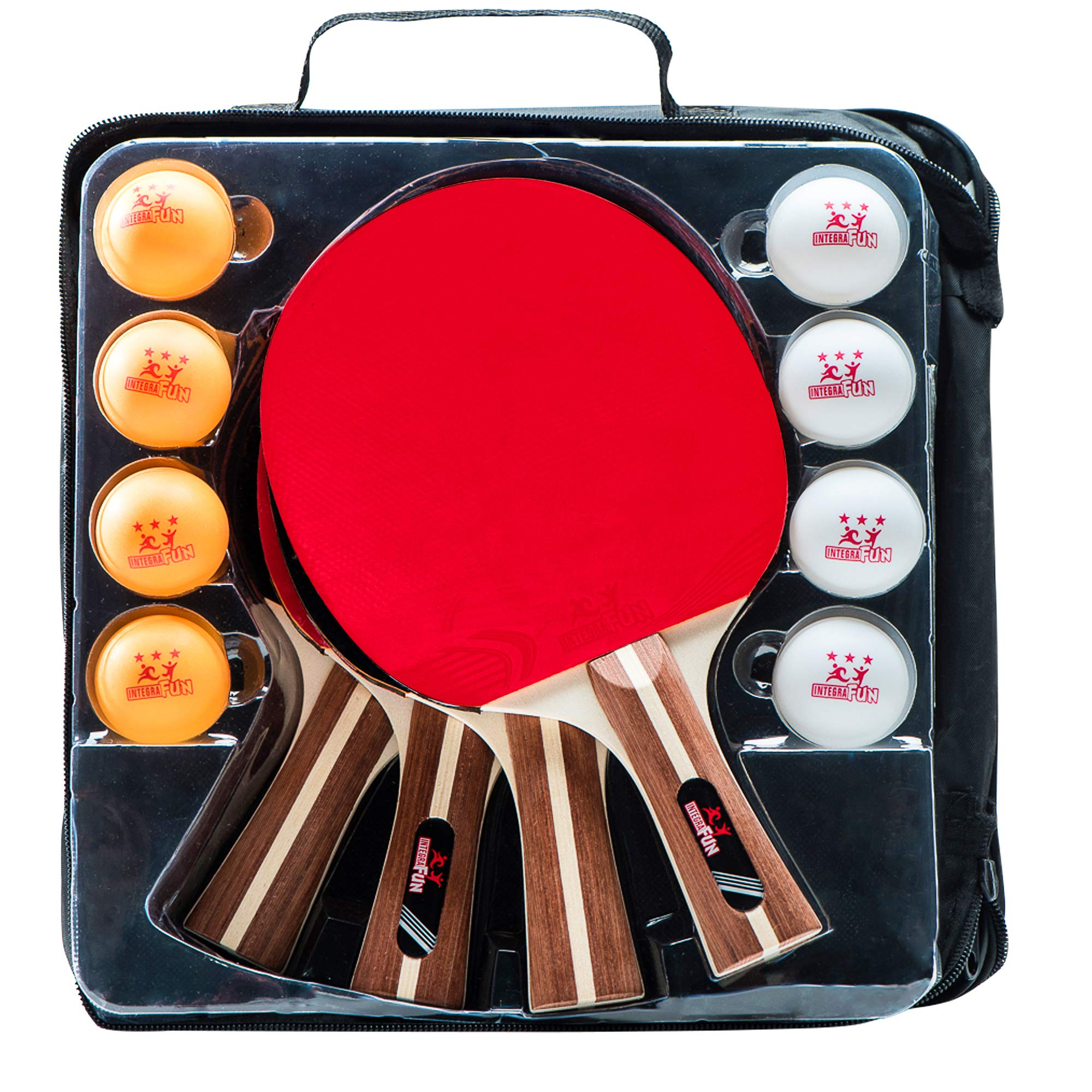 Ping Pong Paddle Set - 4 Wood Ping Pong Paddles - Ergonomic Grip - 8 Tournament