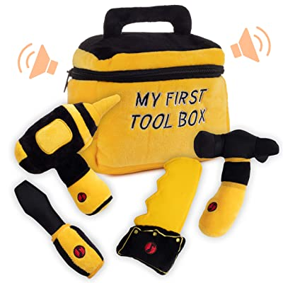 Toy Tool Set for Boys   Includes Cuddly Hammer, Handsaw, Screwdriver, Hand Drill, & Zippered Tool Box with Cool Sounds   Soft Plush Toys Made from Durable & Hypoallergenic Fabric: Toys & Games