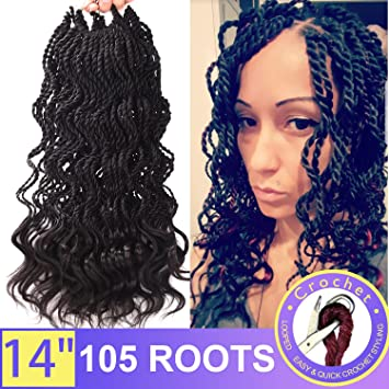 Silike 3 Pieces 14 Thin Curly Senegalese Twist Crochet Braids