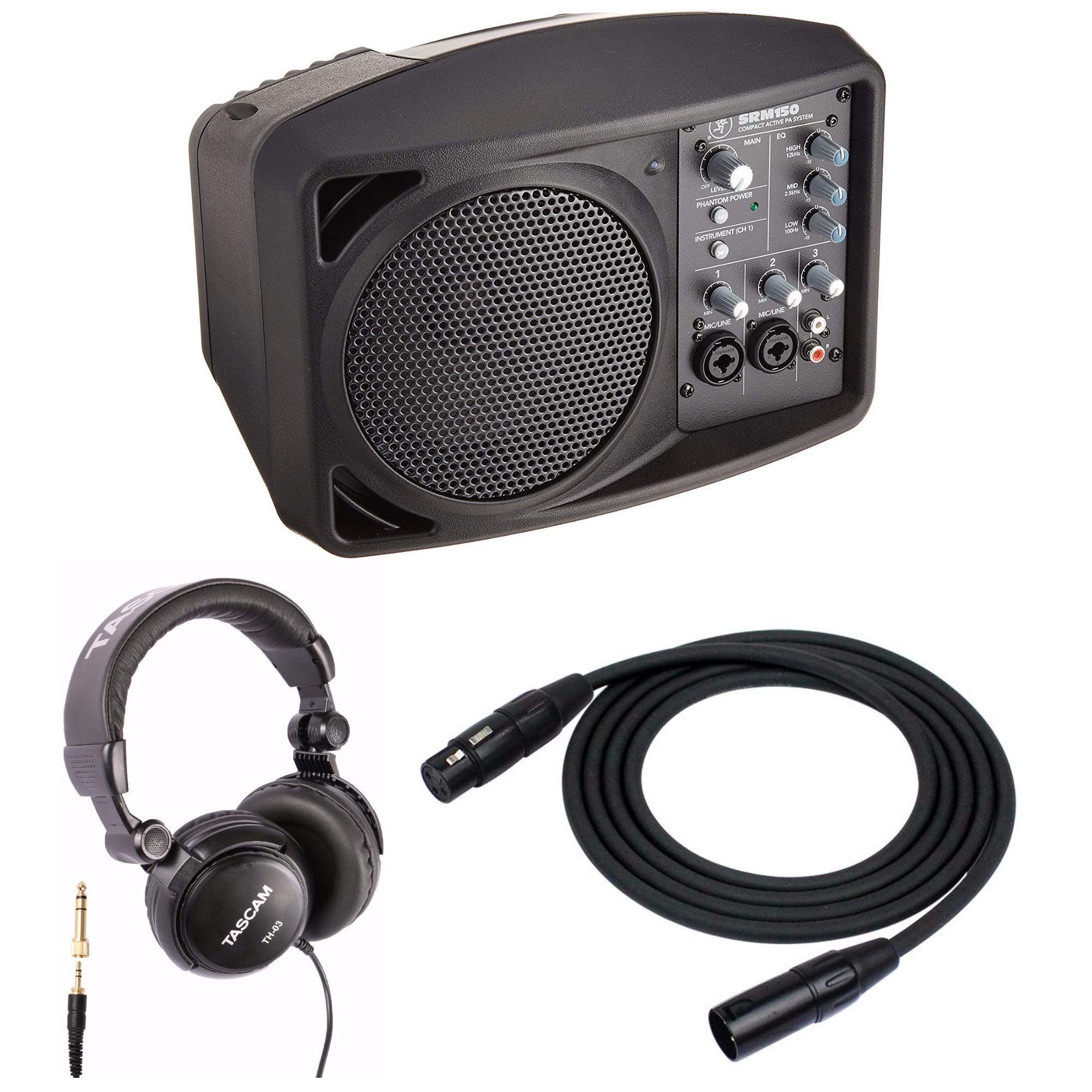 Mackie SRM150 5.25'' Compact Powered Active PA System with XLR Microphone Cables and Full-Sized Headphones