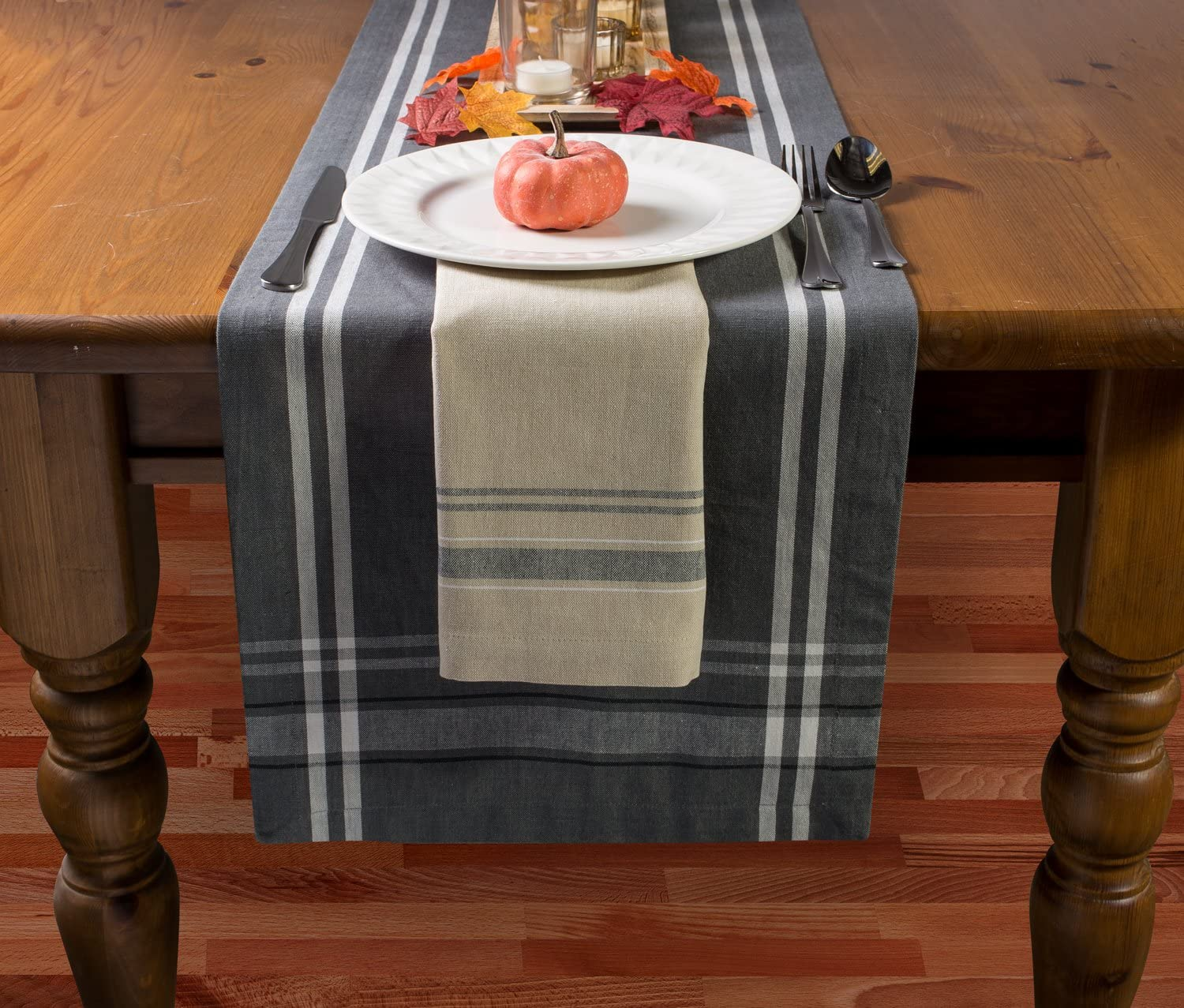 DII Collection French Stripe Gray Chambray Cotton Table Runner