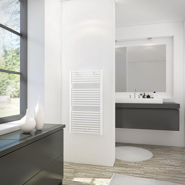 Schulte 15 Sèche-serviette pour salle de bain, radiateur à eau  chaude, env. 15 W, blanc, 15 x 15 cm