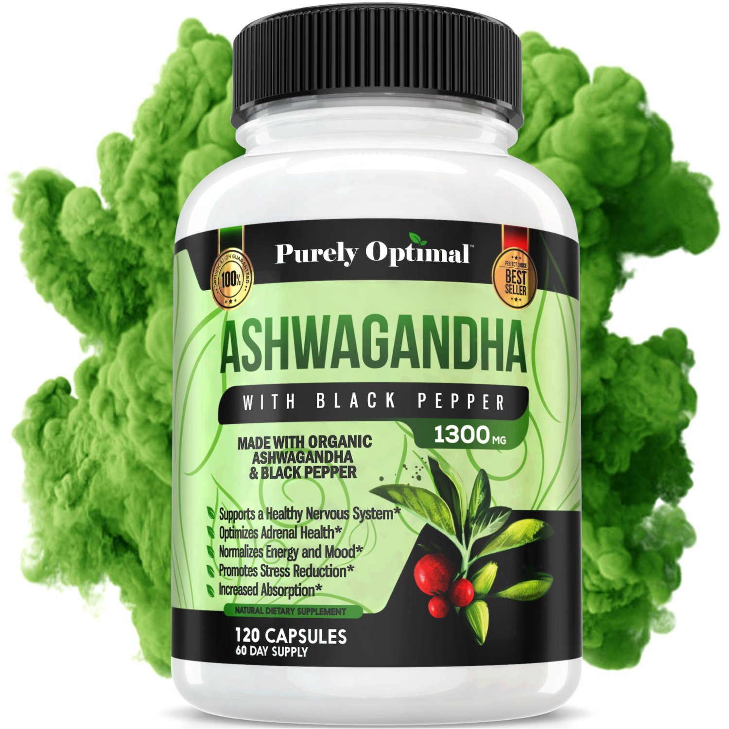 Organic Ashwagandha Root Powder 1300 mg - 120 Veggie Capsules - Anxiety Relief, Stress Relief, Thyroid Support, Adrenal Support & Fatigue Supplements, Mood Enhancer - w/Organic Black Pepper Extract