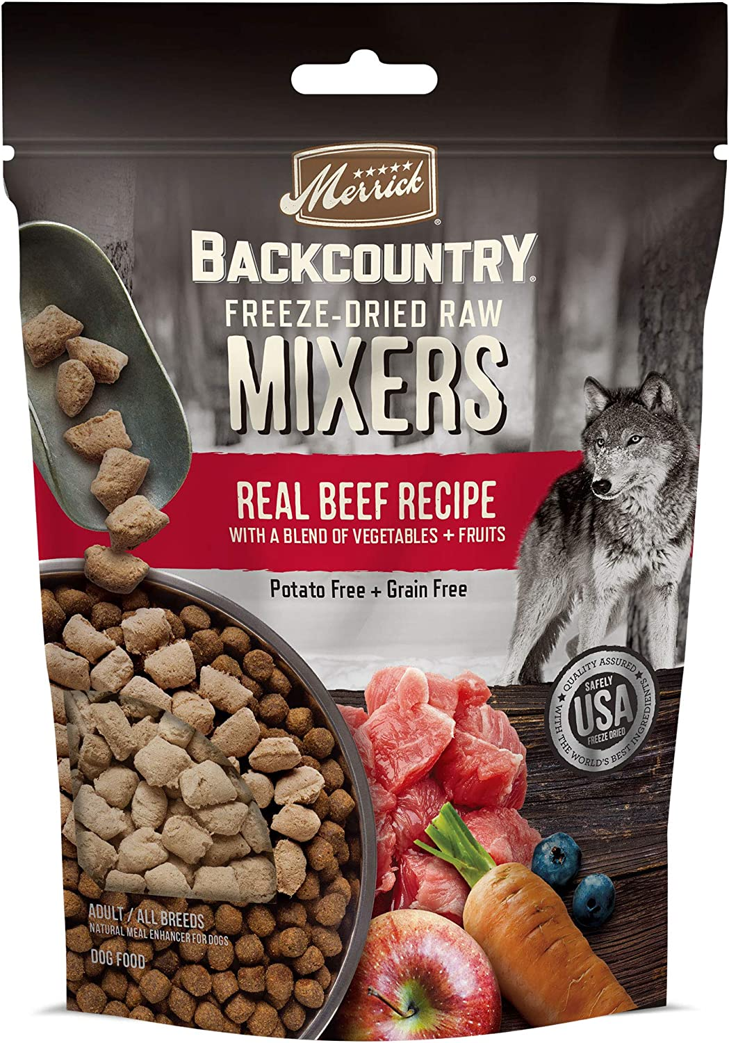 Merrick Backcountry Freeze Dried Raw Grain Free Dry Dog Food Meal Mixers with Real Meat