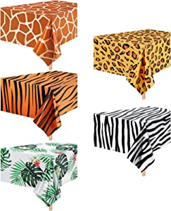 5 Pieces Animal Safari Tablecloth Jungle Animal Theme Tablecover Leopard Tiger Zebra Giraffe Print Table Cover Tropical Leaf Tablecloth Party Supplies for Jungle Safari Zoo Birthday Party Baby Showers