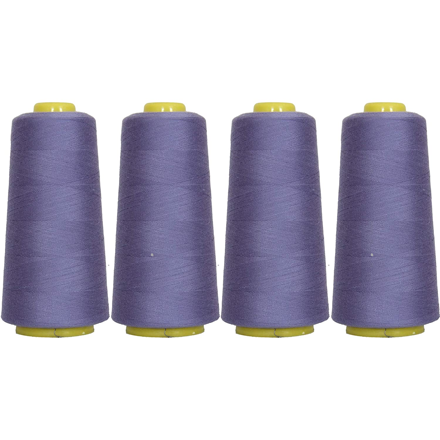 56 Colors Available Threadart Polyester Serger Thread 2750 yds 40//2 4 Cone Bundle Pack White