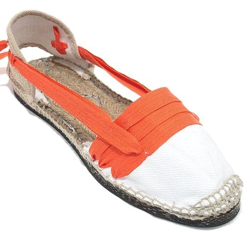 Espardenya.cat Alpargatas Tradicionales Planas Suela de Goma Diseño Tres Vetas o Tabernero Color Naranja: Amazon.es: Zapatos y complementos