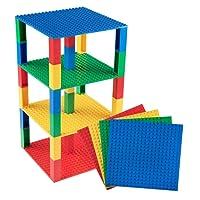 Strictly Briks Set per costruzione torre - include 4 basi da 15,2 x 15,2 cm e 30 pilastri 2x2 - compatibili con tutte le principali marche - giallo, rosso, verde, blu
