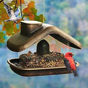 NEROSUN Wild Bird Feeder, Hanging Bird Feeder with House and Chimney